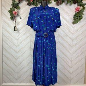 Vintage Leslie Fay Dresses Blue Floral Size 16